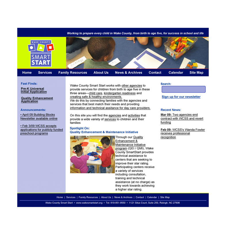 Wake County Smart Start Website